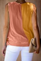 Orange and Mustard Colorblock Drape Tie Tank Top