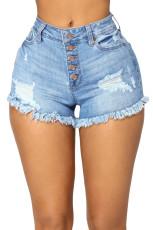 Голубые джинсовые шорты с высокой талией