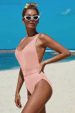 Pink Ribbed Einteiliger Badeanzug mit Gürtel