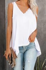 เสื้อคอวีแขนกุดสีขาวสูงต่ำ