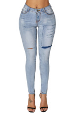 Light Blue Boy Friend Ripped Jeans