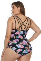 Costume da bagno intero con toppe Push-Up Floral Plus Black Tiger