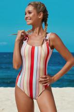 Mehrfarbige Streifen Einteilige Badebekleidung