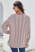 Pink Love Letters Kabelstrik Lace Up Sweater