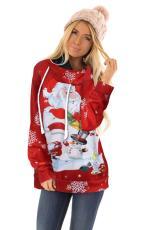Bluza z kapturem z kreskówkami Świętego Mikołaja i bałwana