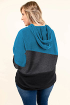 Blauer glücklicher Bruch-Farbblock plus Größen-Hoodie