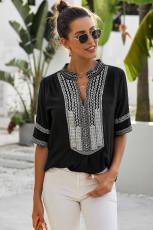 Μαύρο μανίκι αγκώνας μανίκια μπροστά μπλούζα μπλούζα