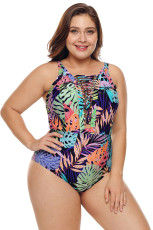 Bikinis Tropical Jungle Crisscross Plunge V Neck Plus Maillot Swimwear
