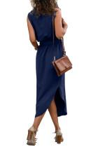 Blauw mouwloos shirt Lange jurk met zakken