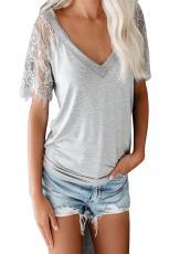 Grå söta sidospets djup V-topp topp-T-shirt