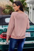 핑크 프렌치 테리 코튼 블렌드 풀오버 스웨트 셔츠