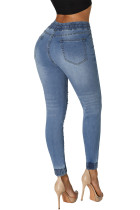Calças de Jogger Distressed Estilo Denim Light Blue