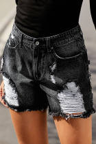 Black Clubhouse Shorts Denim Distress High Rise Distress