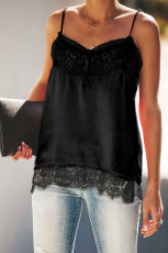Tankê Black Satin Lace Cami