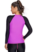 Fuchsia Black Colorblock Zip Down Rashguard Top