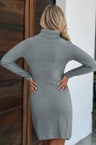 그레이 핸드 니트 하이넥 스웨터 드레스