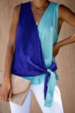 Blue and Turquoise Colorblock Drape Tie Tank Top