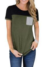 Yeşil Renkli Blok Cepli Tişört