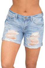 Джинсовые шорты с рельефными манжетами