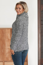 Heather Gray Buttonat Wrap Pulover Turtleneck