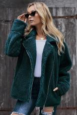 Green Breaker Pocketed Sherpa Statement Jacket