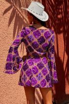 보라색 복고풍 벨 슬리브 앞 매듭 2 Pcs 드레스