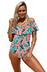 Multicolor Flouncing Off Shoulder One Piece Swimsuit