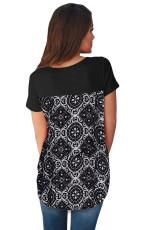 Schwarzes Criss Cross Neck Retro-T-Shirt mit Blumenmuster auf der Rückseite