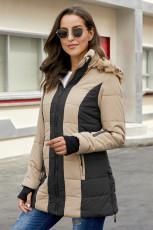 Khaki udendørs polstret jakke til kvinder