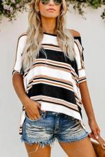 Schwarz Weiß Khaki Farbe Gestreiftes Print Loose Shirt