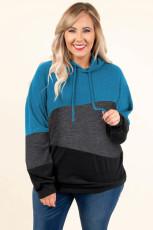 Blauwe Lucky Break-colourblock plus-maat hoodie