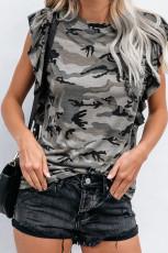 グレーカモフラージュプリントフリルキャップスリーブTシャツ