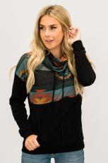 Sort Aztec Cowl Pullover-hættetrøje