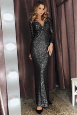 Svart långärmad V-hals Twist Ruched Sequin Party Maxi klänning