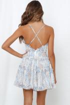 ホワイトフィットフレアフリルエッジクリスクロス花柄ドレス