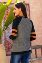 Svart Mode Casual Splice Löst tröja