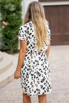 Weißes Geparden-Tunika-Kleid