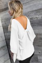 เสื้อคอวีแขนสามส่วนสีขาว Bowknot