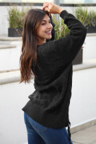 Black Love Letters Cable Knit Lace Up Sweater