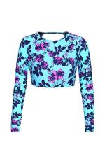 Blue Floral Print Long Sleeve Cropped Swim Top