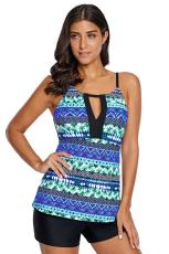 Blue Green Beach Holiday Tankini Swim Top