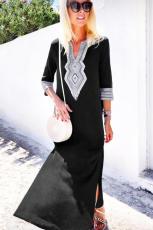 Czarna, dorywczo szydełkowa, haftowana sukienka letnia