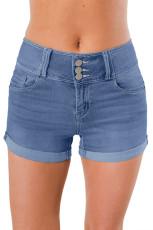 Голубые тройные джинсовые шорты с высокой талией на пуговицах