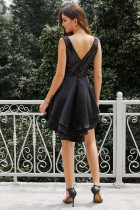 Heart Broken Black Gold Payet Multi Layer Skater Dress