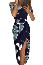 Dark Blue Floral Print Lengan Pendek Off Shoulder Dress