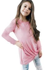 Top de manga larga con detalle de nudo rosa Twist de niña