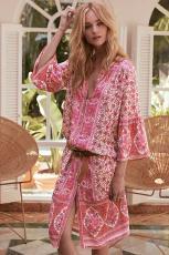 Gaun Print Mid-Calf Lengan Tiga Perempat Merah Muda