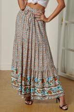 Flerfarvet Boho blomsterprint Elastisk høj talje plisseret en linje Maxi nederdel