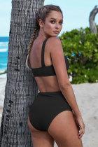 Zwart geribde gebreide sportbeha bikiniset met hoge taille