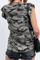 Γκρι καμουφλάζ εκτύπωσης ξεσκονισμένο μανίκι μανίκι T-shirt